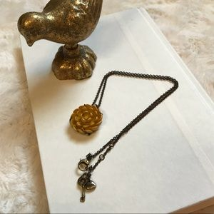 Mustard Yellow Fossil Flower Necklace